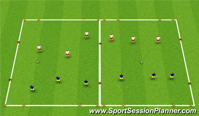 Football/Soccer Session Plan Drill (Colour): 3v3 4 Goal Game