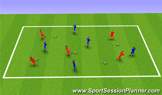 Football/Soccer Session Plan Drill (Colour): 'Dynamic' Pass + Receive