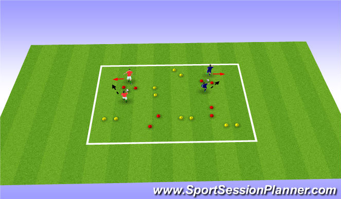 Football/Soccer Session Plan Drill (Colour): One-Twos paired challenge