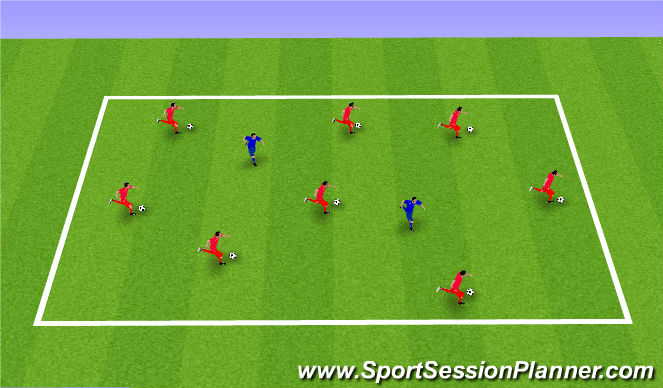 Football/Soccer Session Plan Drill (Colour): Keep Away From The Tagger