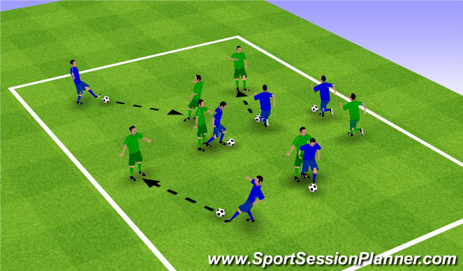 Football/Soccer Session Plan Drill (Colour): Warm Up 2 - Passing/Shielding