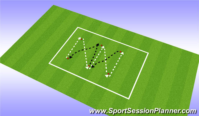 Football/Soccer Session Plan Drill (Colour): diagonal passing pattern