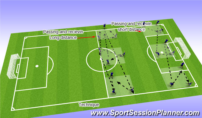 Football/Soccer Session Plan Drill (Colour): passing /technique