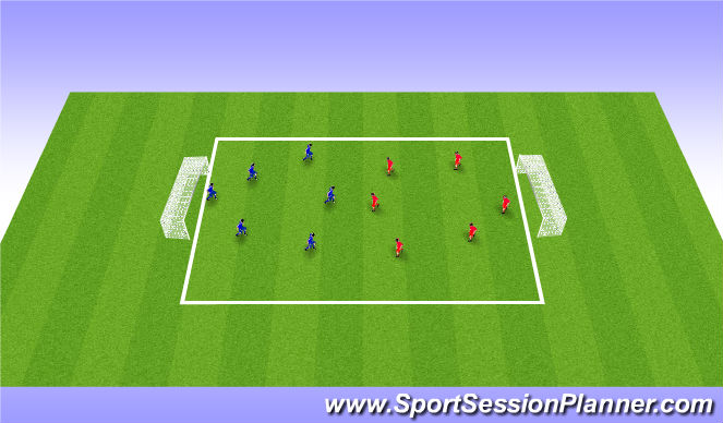 Football/Soccer Session Plan Drill (Colour): Scrimmage 15 mins