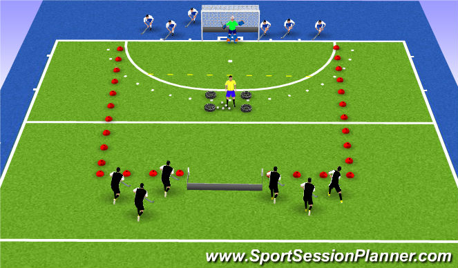 Hockey Session Plan Drill (Colour): Eindspel