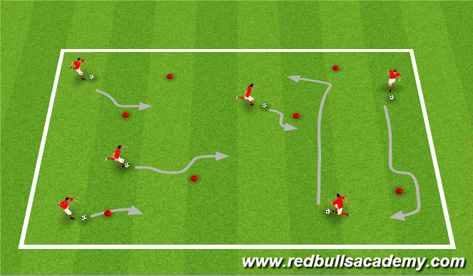 Football/Soccer Session Plan Drill (Colour): Dribbling with Moves