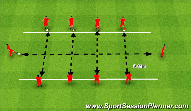 Football/Soccer Session Plan Drill (Colour): 3. Torpedy.