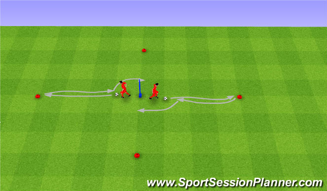 Football/Soccer Session Plan Drill (Colour): Drag back and move.