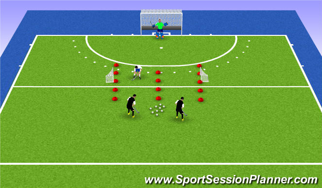 Hockey Session Plan Drill (Colour): W-up 1 v 1