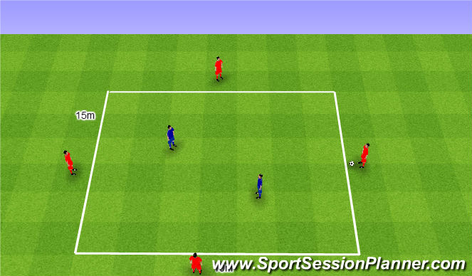 Football/Soccer Session Plan Drill (Colour): Rondo 4v2. Dziadek 4v2.