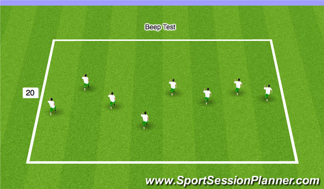 Football/Soccer Session Plan Drill (Colour): Stage 2 - Beep Test