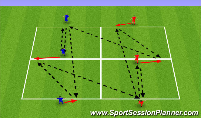 Football/Soccer Session Plan Drill (Colour): ATP - 1 touch triangles