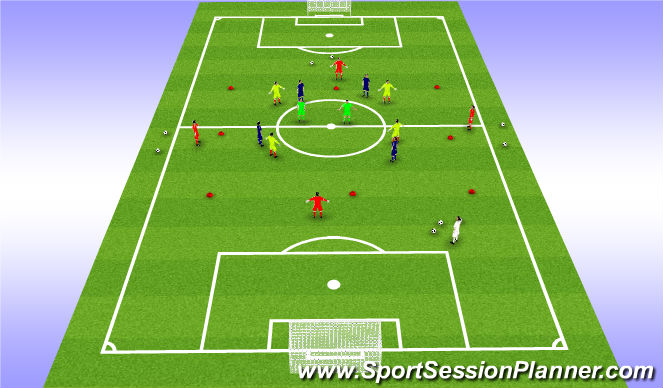 Football/Soccer Session Plan Drill (Colour): Positioning Game 10v4