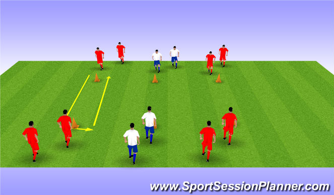Football/Soccer Session Plan Drill (Colour): passen en trappen