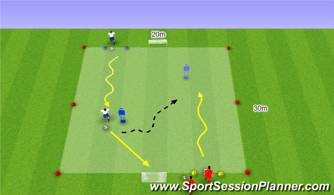 Football/Soccer Session Plan Drill (Colour): 1:1 met nadruk op speed
