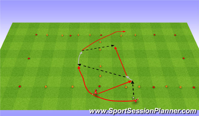 Football/Soccer Session Plan Drill (Colour): Passing maze games. Gry w labiryncie: Podania.