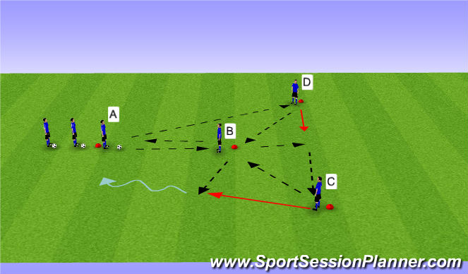 Football/Soccer Session Plan Drill (Colour): Y Passing Phase V