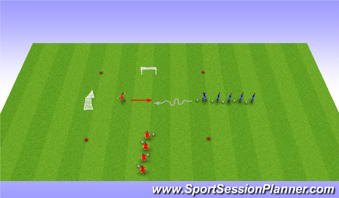 Football/Soccer Session Plan Drill (Colour): 1v1 SSG - Defending
