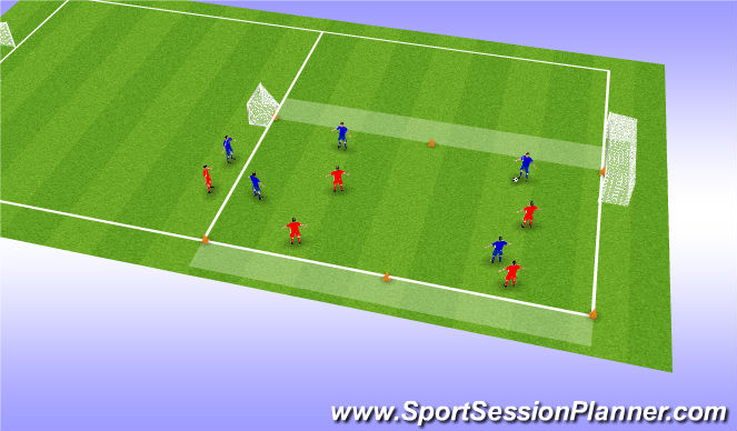 Football/Soccer Session Plan Drill (Colour): 4-4 lijnvoetbal