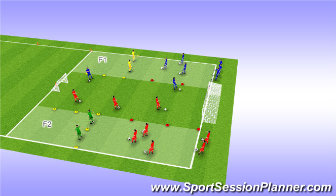 Football/Soccer Session Plan Drill (Colour): Oversteken met 2 verd.