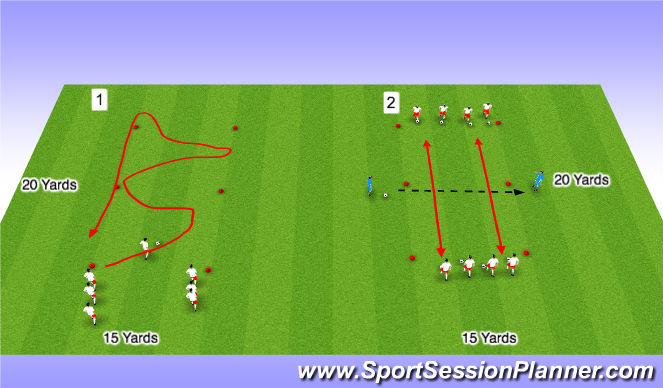 Football/Soccer Session Plan Drill (Colour): Technical Exercise