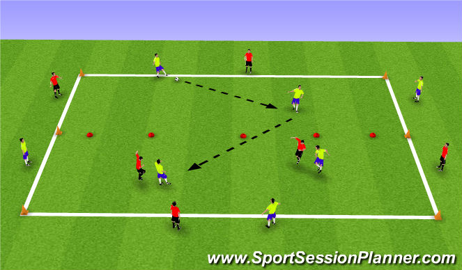 Football/Soccer Session Plan Drill (Colour): 4 vs 4 + 4