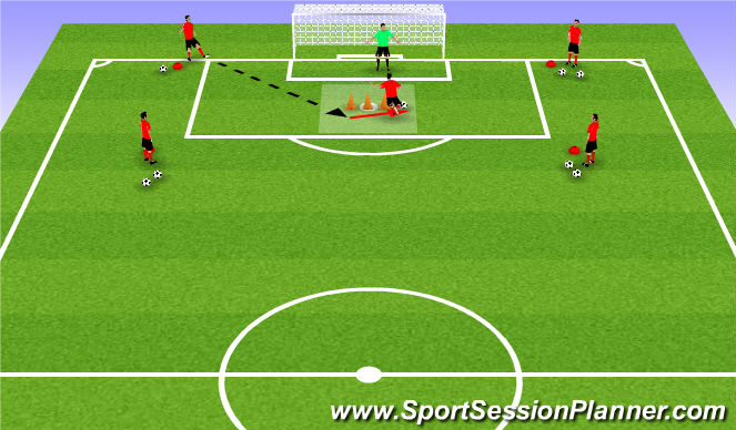 Football/Soccer Session Plan Drill (Colour): Two-touch box finishing
