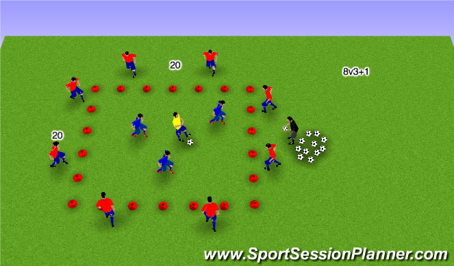 Football/Soccer Session Plan Drill (Colour): 8 v 3 + 1