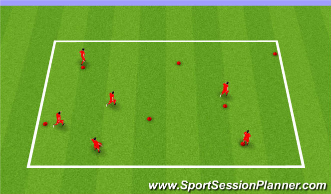 Football/Soccer Session Plan Drill (Colour): Warm up - Cone game
