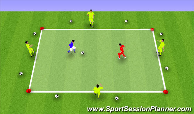 Football/Soccer Session Plan Drill (Colour): 1v1 met 4 kaatsers