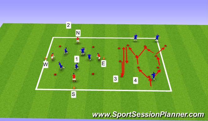 Football/Soccer Session Plan Drill (Colour): U15s / U16s Week 30, Session 1, Multidrectional Speed