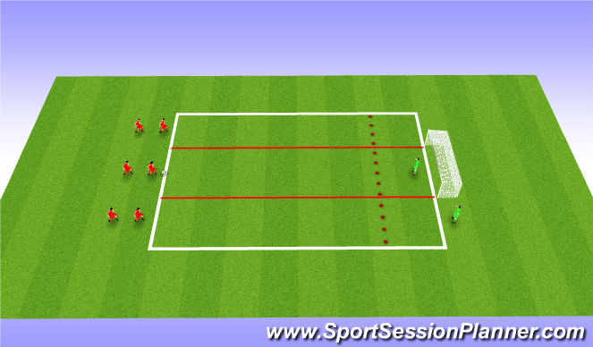 Football/Soccer Session Plan Drill (Colour): 1 Touch Passing Pattern - Lanes
