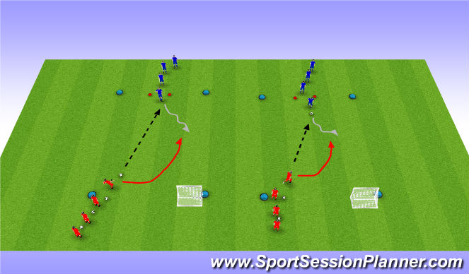 Football/Soccer Session Plan Drill (Colour): Defending 1v1 Technique