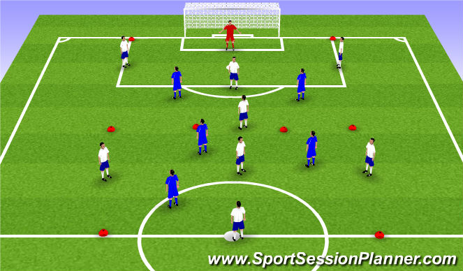 Football/Soccer Session Plan Drill (Colour): 9v5 rondo