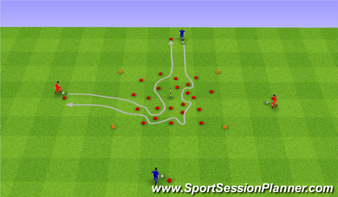 Football/Soccer Session Plan Drill (Colour): Prowadzenie piłki.