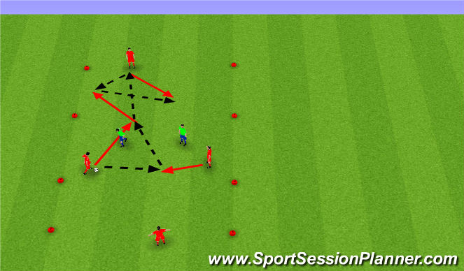 Football/Soccer Session Plan Drill (Colour): 2v2 target player