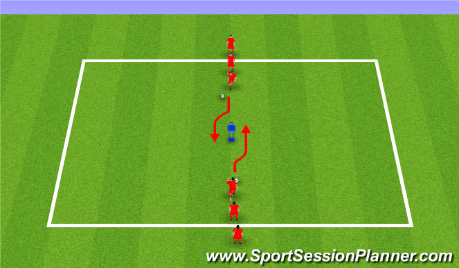Football/Soccer Session Plan Drill (Colour): Skills to beat a defender