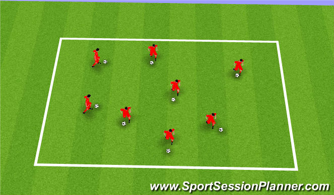 Football/Soccer Session Plan Drill (Colour): Warm up (Ball Mastery)