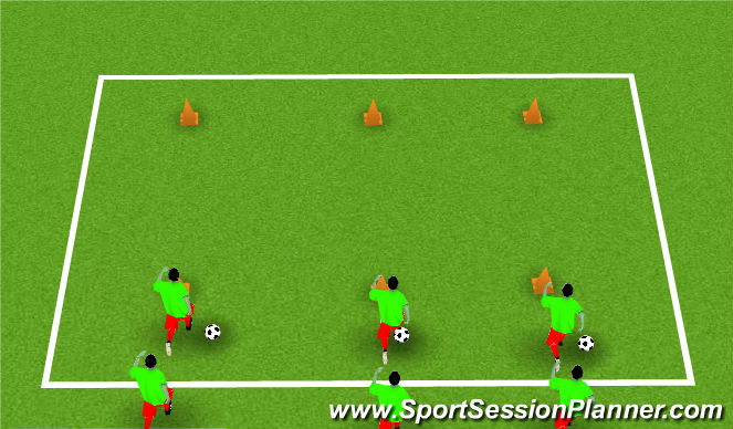 Football/Soccer Session Plan Drill (Colour): Cone dribble