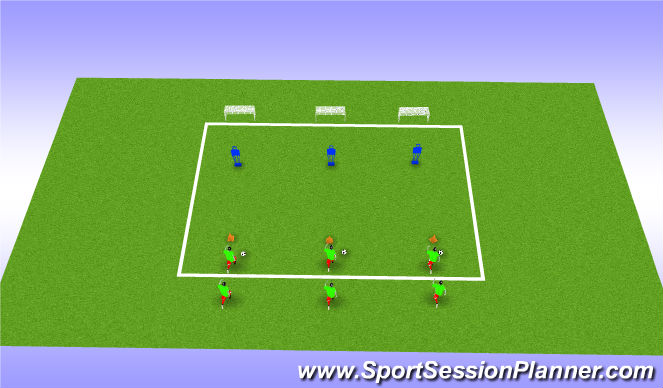 Football/Soccer Session Plan Drill (Colour): Dribble and shoot