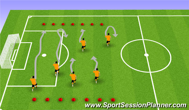Football/Soccer Session Plan Drill (Colour): Fitness- Timed Dribble