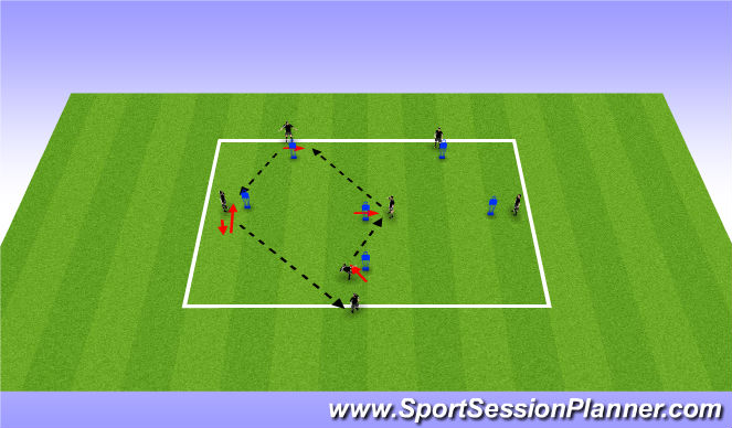 Football/Soccer Session Plan Drill (Colour): W Passing Pattern
