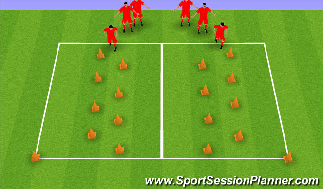 Football/Soccer Session Plan Drill (Colour): Coerver Individual Ball Manipulation