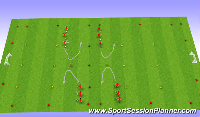 Football/Soccer Session Plan Drill (Colour): Technical repition 1
