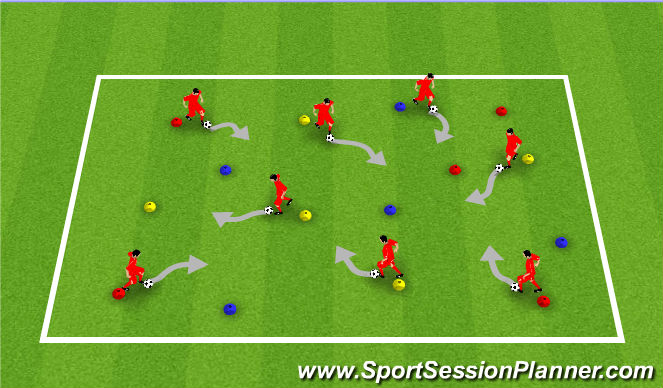 Football/Soccer Session Plan Drill (Colour): Network (Ball Mastery)