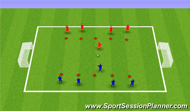 Football/Soccer Session Plan Drill (Colour): 1v1 - Lucky colours/numbers