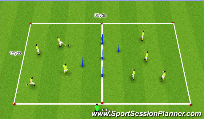 Football/Soccer Session Plan Drill (Colour): High tempo and sharp passing practice.