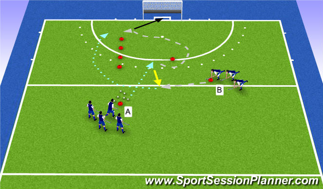 Hockey Session Plan Drill (Colour): backhand drop + 1v1