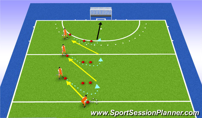 Hockey Session Plan Drill (Colour): versnelling bal @ stick