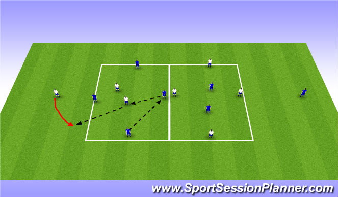 Football/Soccer Session Plan Drill (Colour): 4v2 Rondo Competition